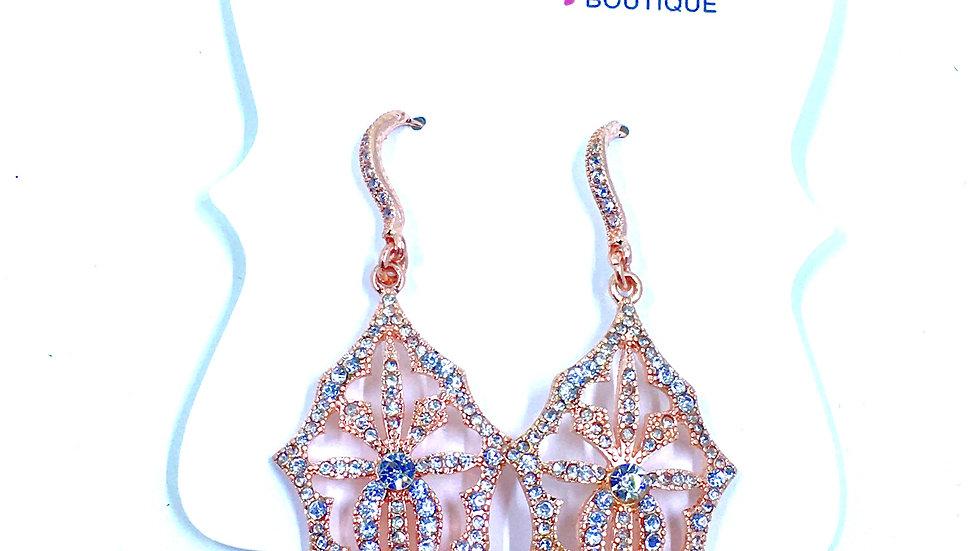 Rose Gold Bling Filigree Dangle Earrings