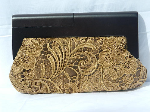 Lace and Wood Clutch
