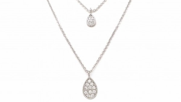 Pave Pear Charm Necklace