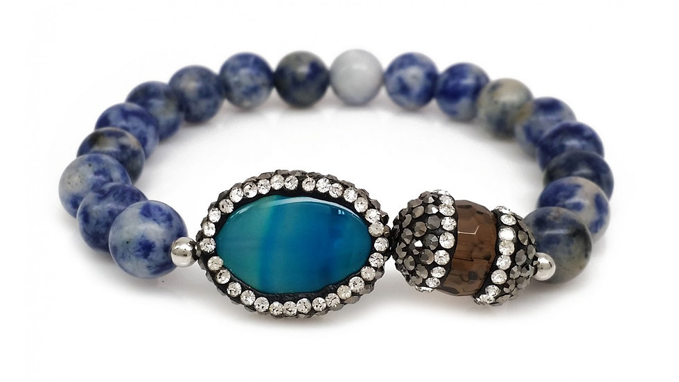 Natural Agate in Blue Color with Crystallized Capped BrownStone.