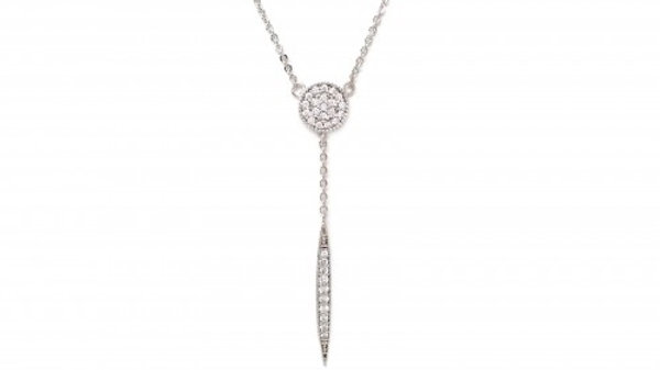 Pave Y Chain Round Bar Charm Necklace