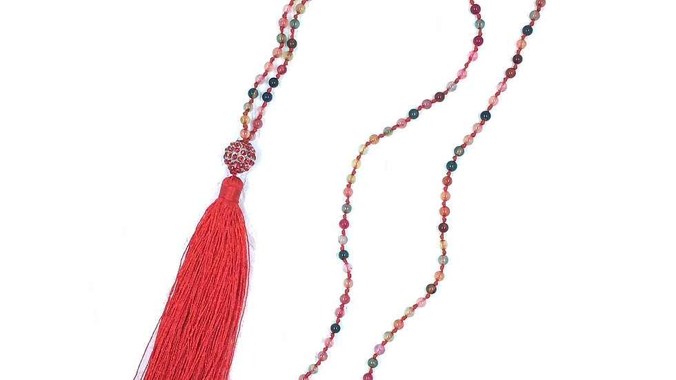 Multi Color Stone with Tassel Necklace