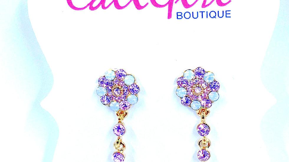 Pretty-n-Pink Crystal Dangle Earrings