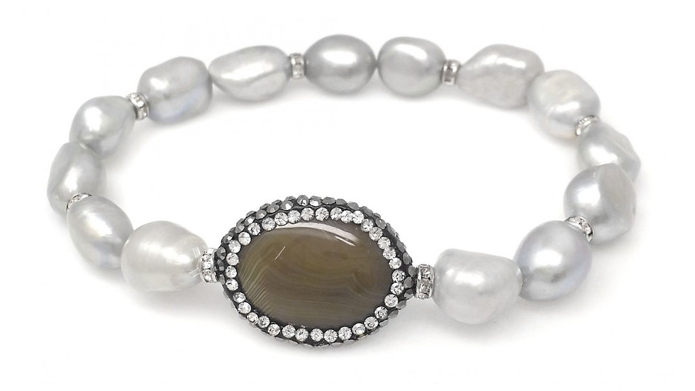 Grey Freshwater Pearl Stretch Bracelet w/ Hematite Crystallized Blue-Green Agate