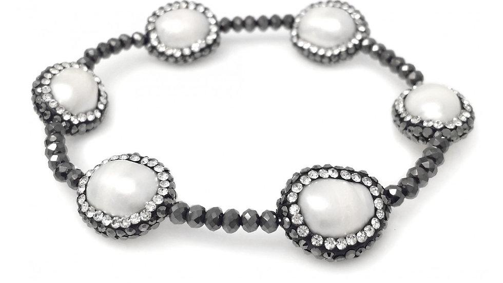 Dark Grey Metallic Glass Beaded Stretch Bracelet with Hematite Crystallized