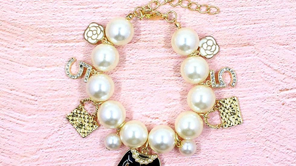 Chunky Pearl Charm Bracelet