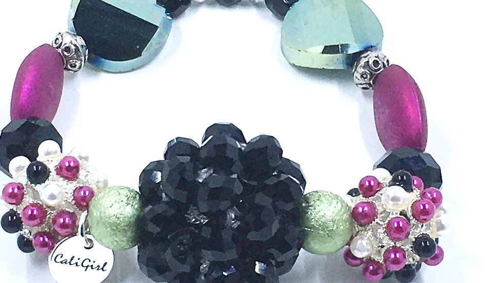 Fuchsia, Black and Green Boho Stretch Bracelet