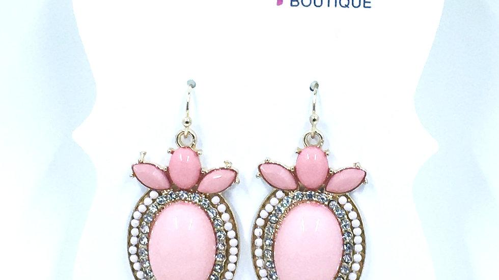 Pink Oval Dangle Earring