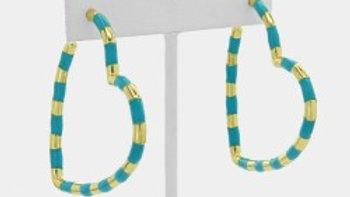 Large Gold & Enamel Striped Heart Earrings