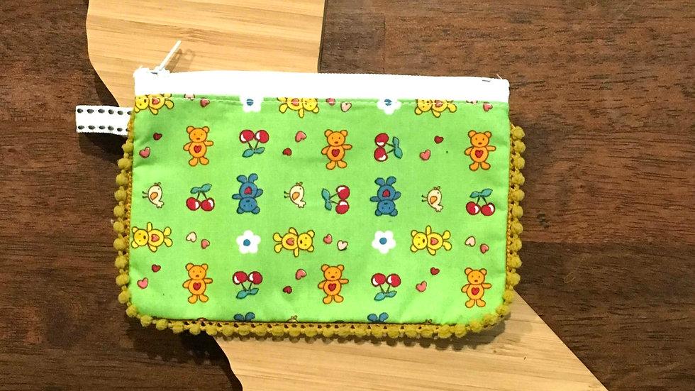 Green Bear & Cherry Handmade Fabric Coin Purse