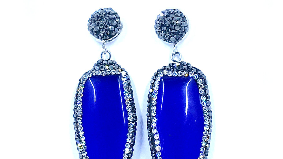 Blue Stone, Hematite and Crystal Dangle Earring