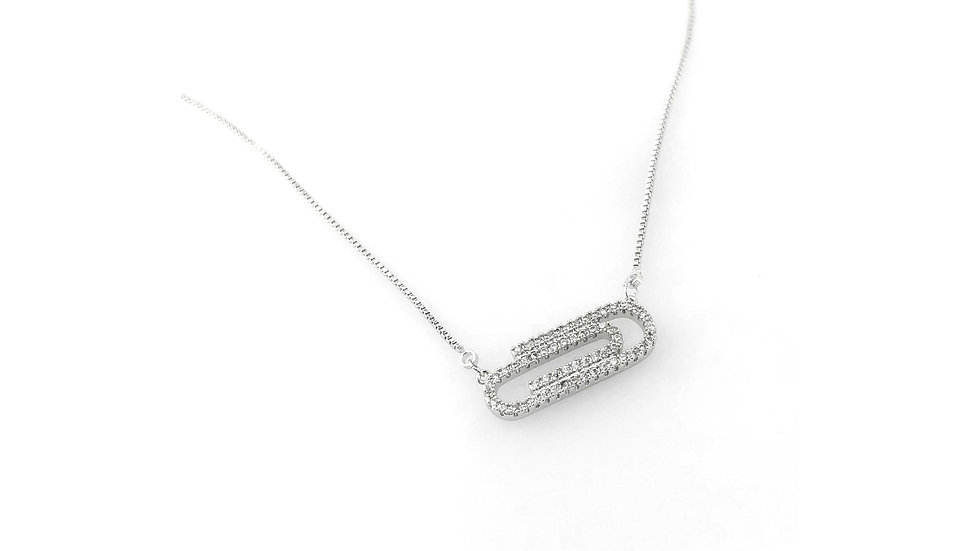 CZ Paperclip Necklace