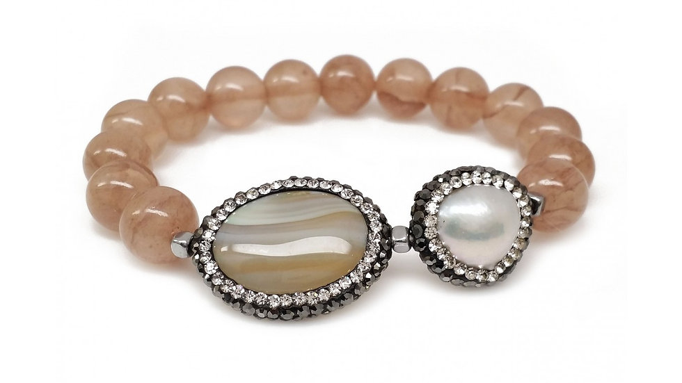 Natural Brown Agate with Crystallized Brown Stone & Pearl Stretch Bracelet