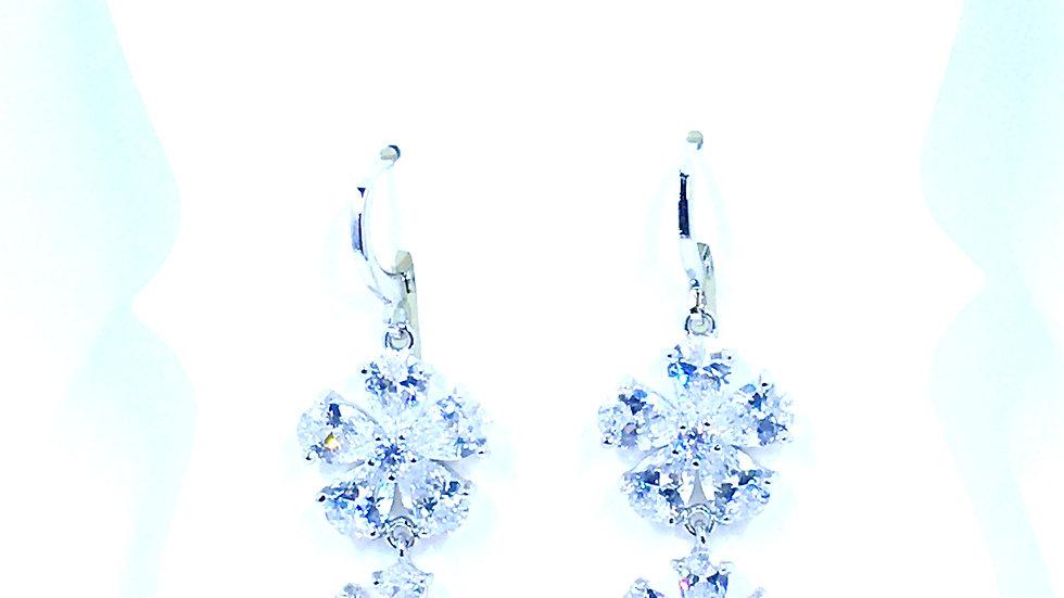 Elegant Floral Crystal Dangle Earrings