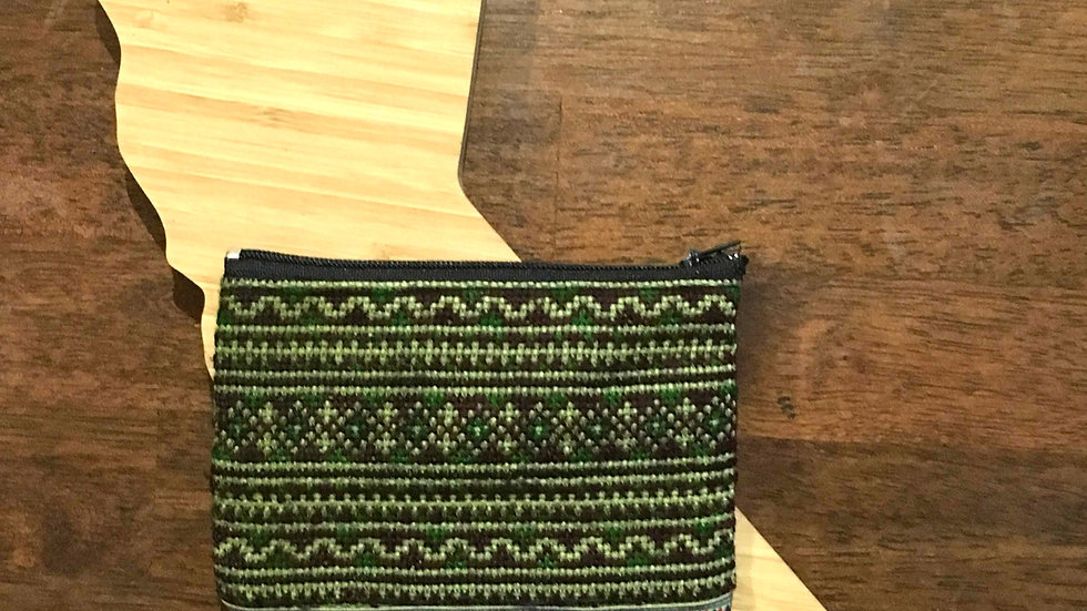 Green and Brown Handmade Woven Fabric Coin Purse