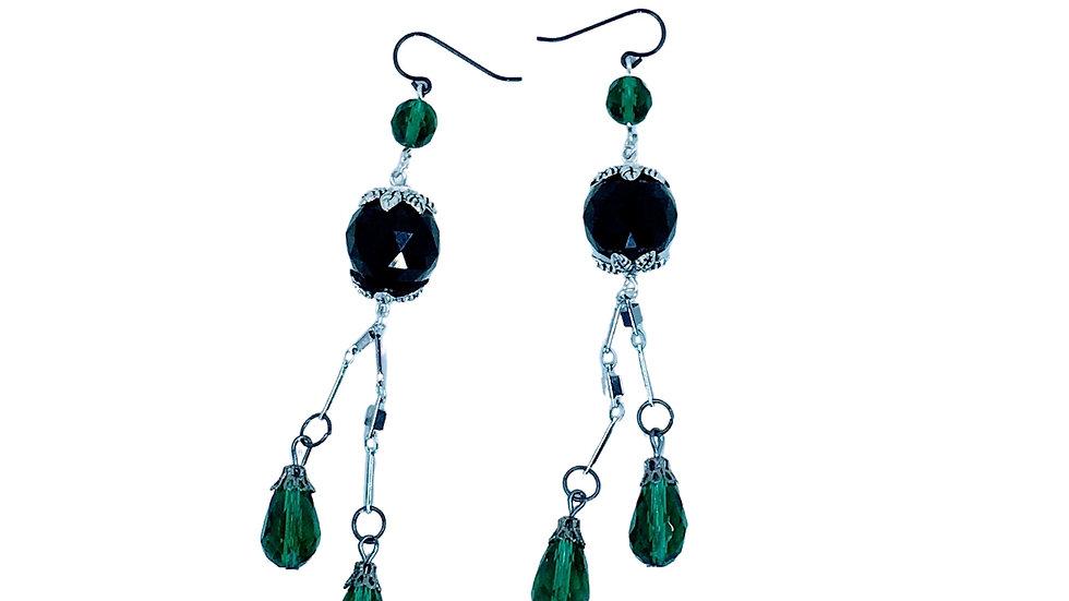 Emerald & Black Drop Earrings