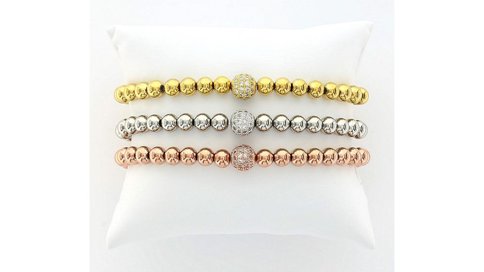 Stainless Steel Beaded Stretch Bracelet with a Micro Pavé Cubic Zirconia Sphere
