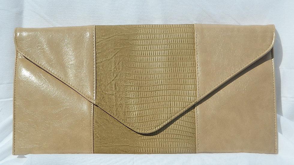 Vegan Lizard & Patent Envelope Clutch