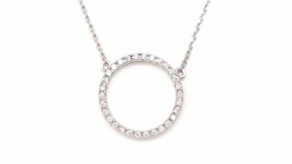 Pave Round Circle Necklace