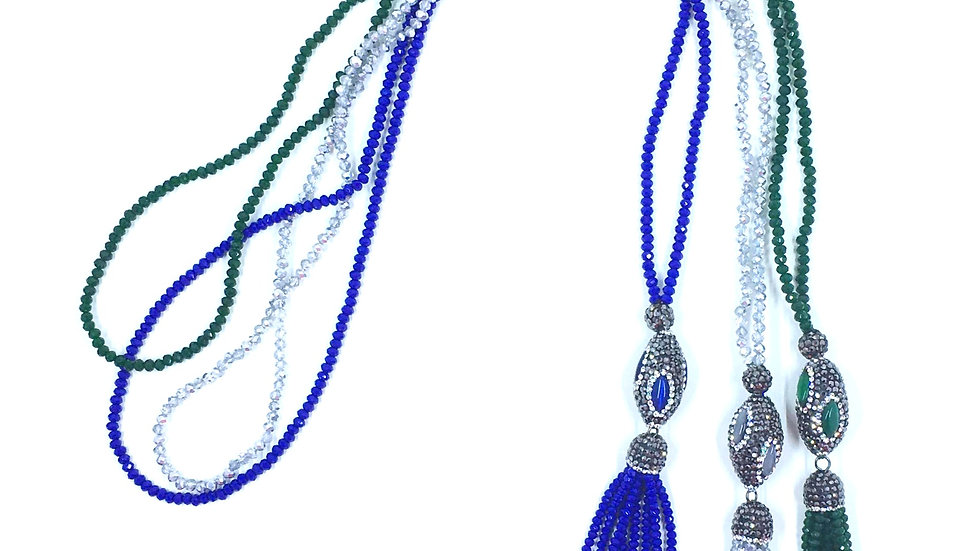 FACETED BEADS TASSEL NECKLACE
