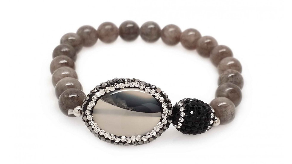 Light Grey Agate Color with Crystallized Capped Grey Stone
