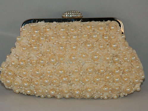 Pearl and Satin Flower Clutch