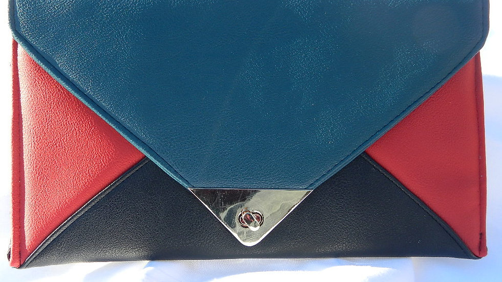 Vegan Multi Color Envelope Clutch