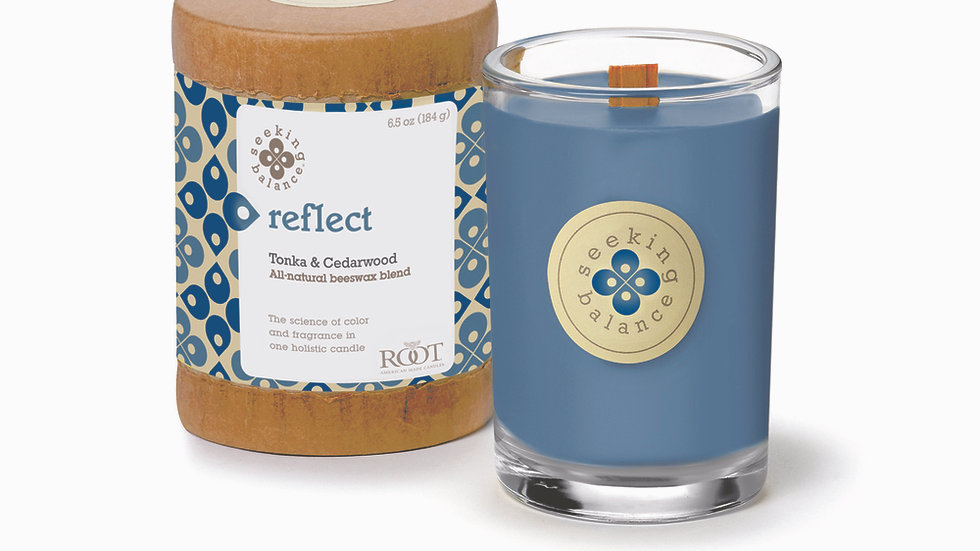 SEEKING BALANCE® REFLECT 6.5 OZ ORIGINAL SPA CANDLE TONKA AND CEDARWOOD