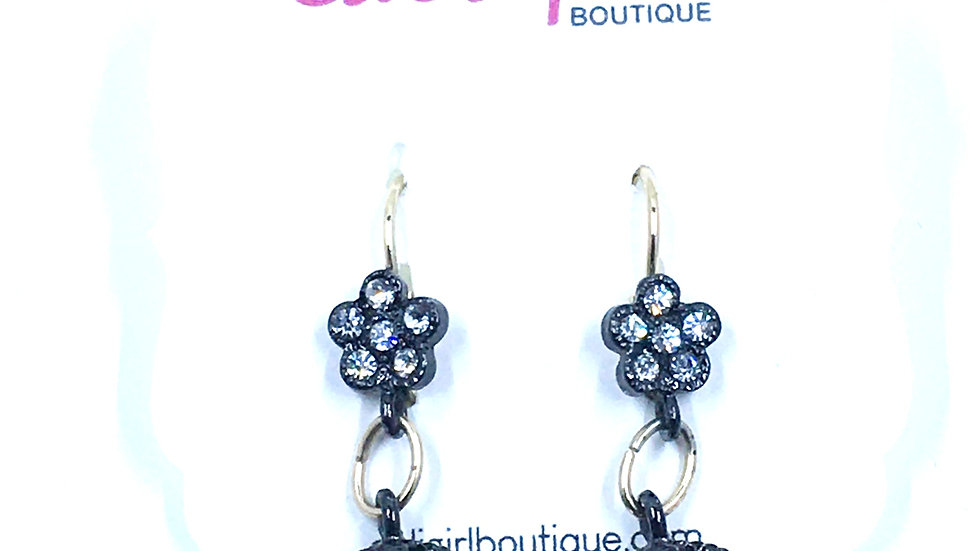 Hematite Floral and Circle  Crystal Dangle Earring