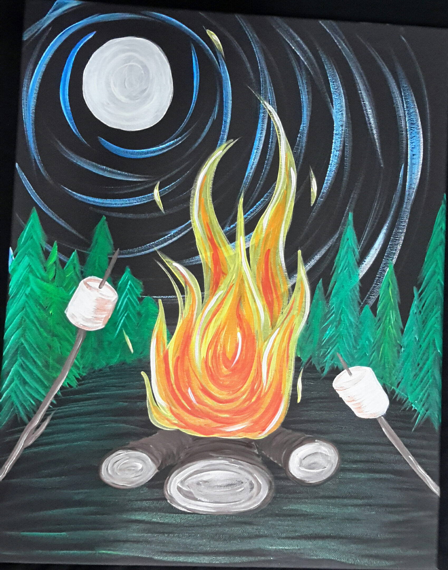 Campfire (Black Canvas)
