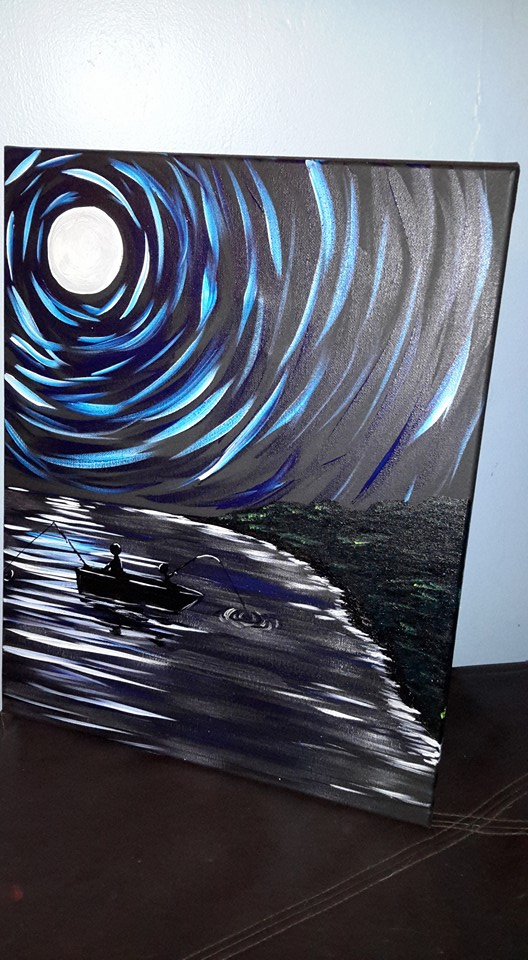 Night Fishing (Black Canvas)
