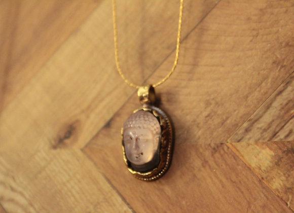 ROSE QUARTZ BUDDHA  - necklace