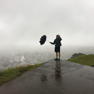 Mount Eden on a windy and stormy day.