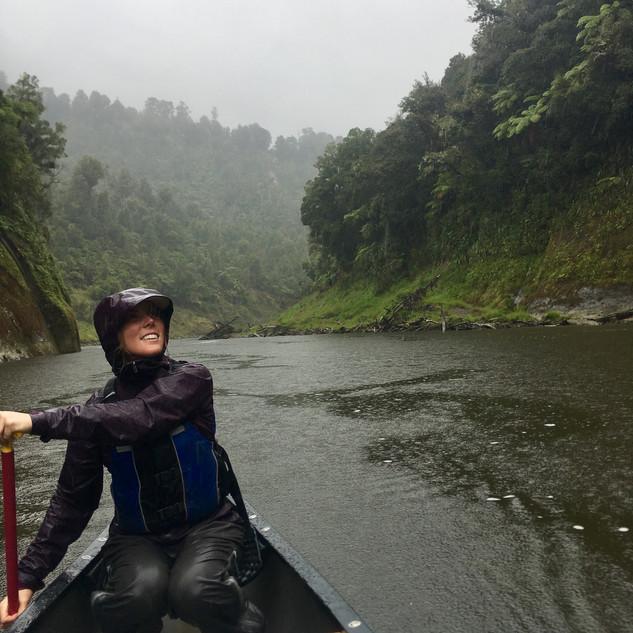 Paddling on the Whanganui River.