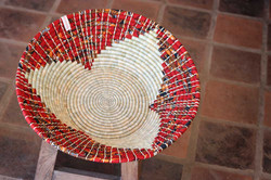 Red Kitenge Fruit Bowl Maua Design