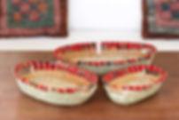 Handmade Fair Trade Home Decor Red Kitenge Bread Baskets