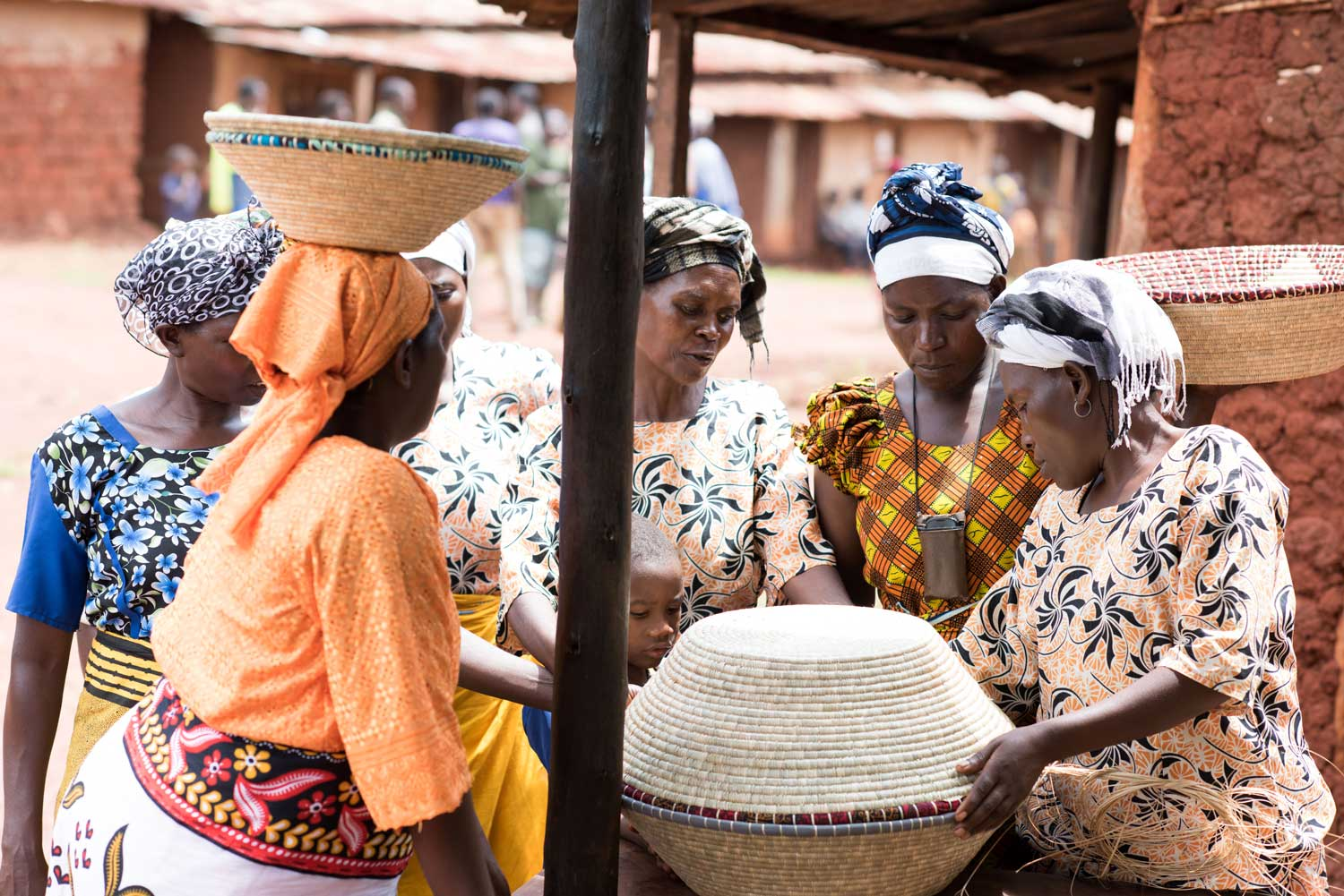 Women artisans discussing products