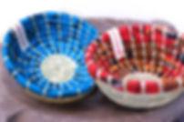 Handmade Fair Trade Home Decor Red and Blue Kitenge Bakuli Bowls