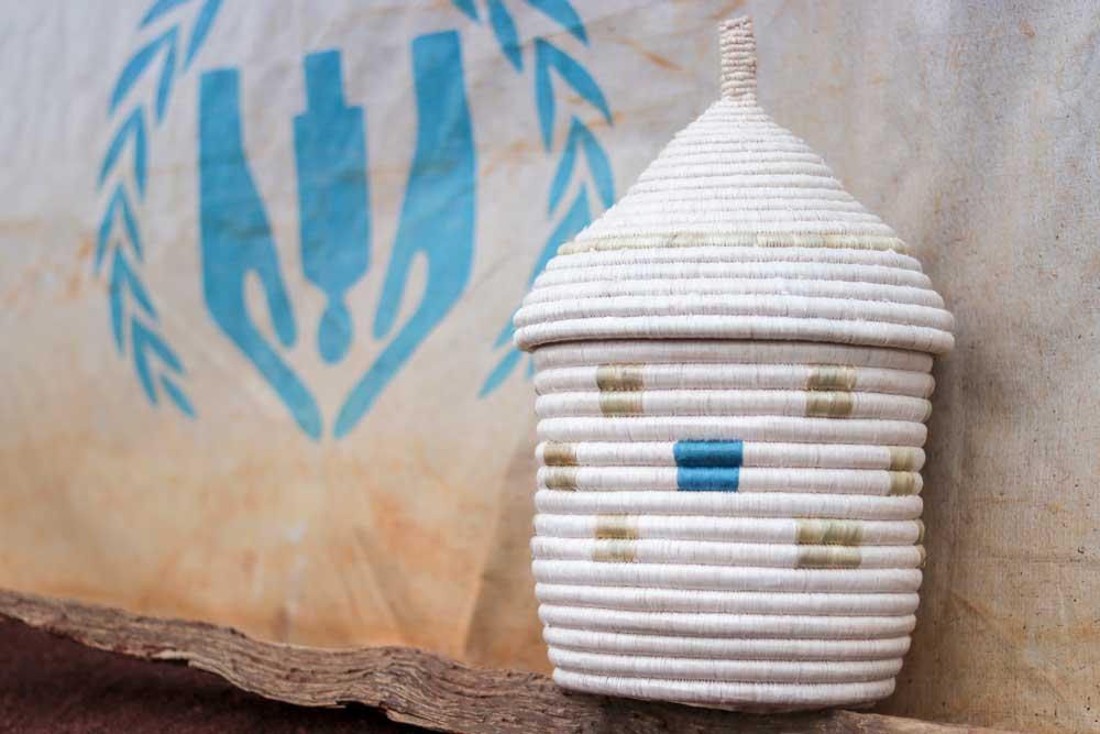 Refugee made blue Kitwaro Baskets