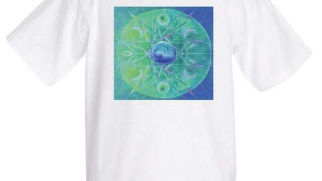 Psychedelic geometric design T-shirt, White