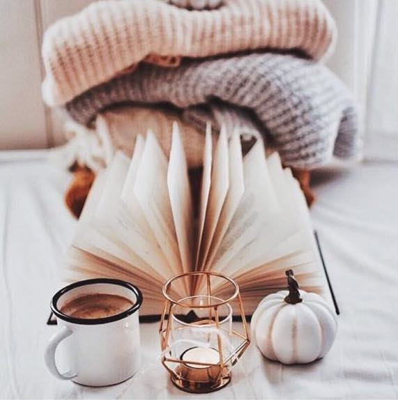 coffee candle white pumpkin book sweaters