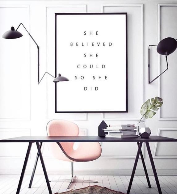 calendar motivational quote white wall pink chair