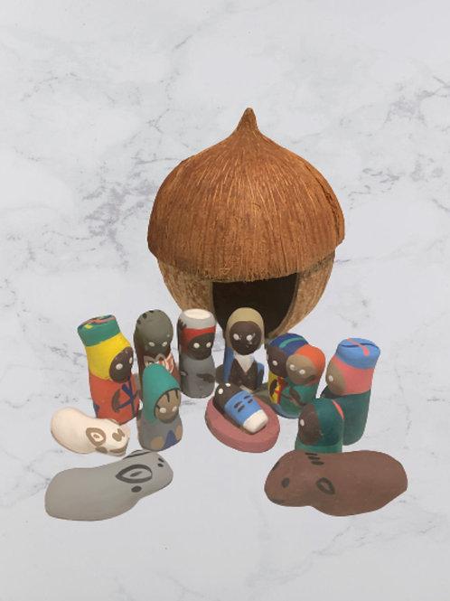 Coconut Hut Nativity Scene