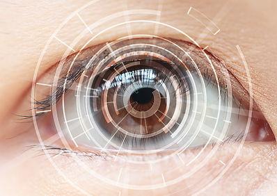 Close-up of woman's brown eye. High Tech