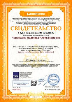 Свидетельство проекта infourok.ru №ГЖ907