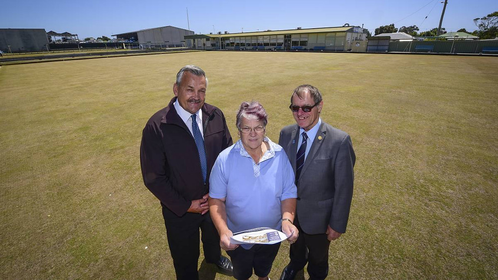 ON THE MARKET: Collins Real Estate managing agent Peter Wiggers and real estate agent Peter Colgrave with Devonport Bowls Club treasurer Annette Triggs. Picture: Paul Scambler