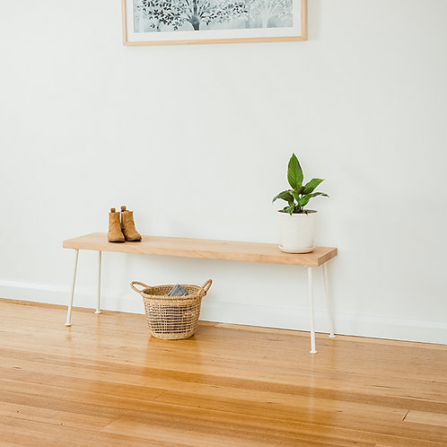 Lottie Hall Bench / Seat | Tasmanian Oak – White legs