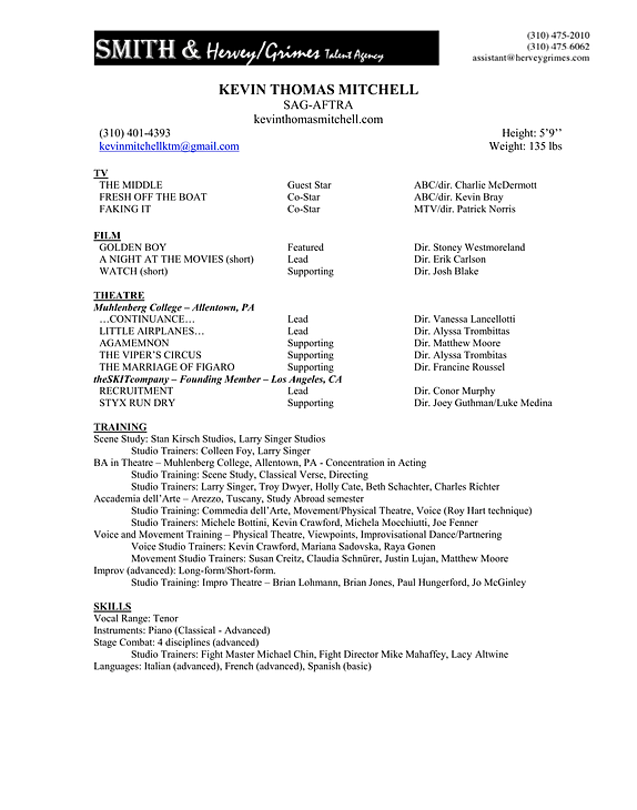 resume for film