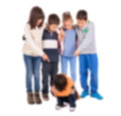 group of children bullying a child