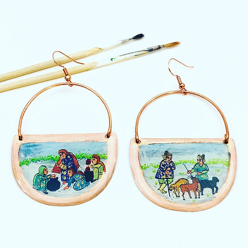 Hand Painted (miniature) nostalgic earrings